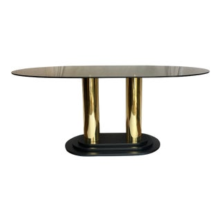 1980s Art Deco Style Oval Smoked Glass and Brass Pedestal Column Dining Table For Sale