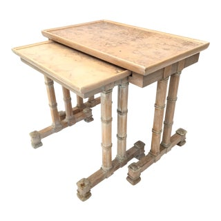 Dorothy Draper Heritage Bamboo Nesting Side Tables - a Pair For Sale