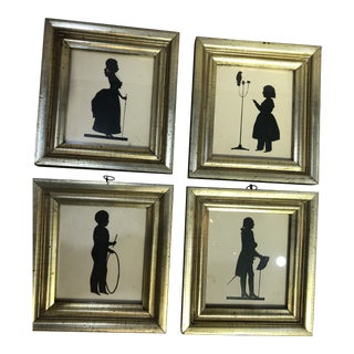 Set of Four Silhouettes in Gilded Frames For Sale