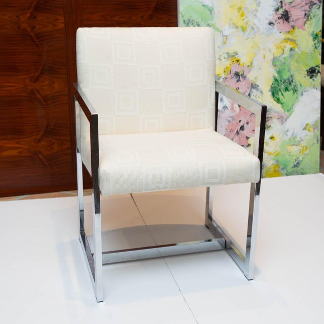 Vintage solo piece in the manner of Milo Baughman's designs for Thonet. Reupholstered in a checkered graphic white on...