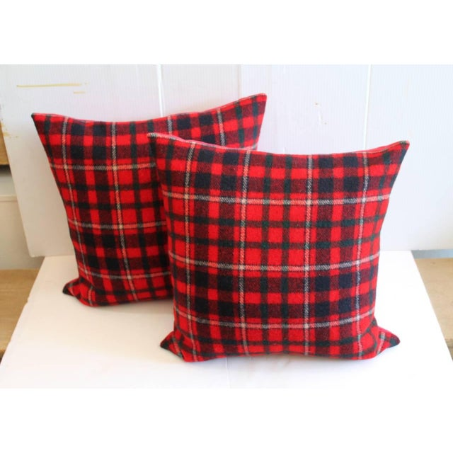 Pair of Red and Blue Pendleton Blanket Pillows For Sale In Los Angeles - Image 6 of 6