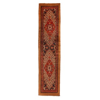 Antique Sarab Red and Beige Wool Floral Persian Runner Rug - 3′6″ × 22′ For Sale