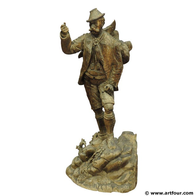 A Large Unfinished Black Forest Poacher With Ibex Carving For Sale - Image 12 of 12
