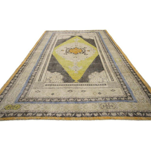 Contemporary Vintage Mid-Century Turkish Oushak Area Rug - 5′1″ × 8′10″ For Sale - Image 3 of 7