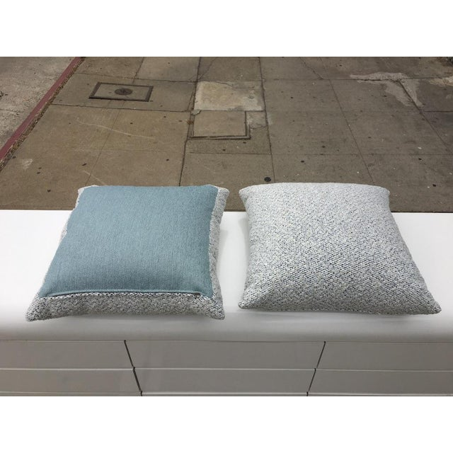 2010s Custom White and Blue Boucle Pillows - A Pair For Sale - Image 5 of 9
