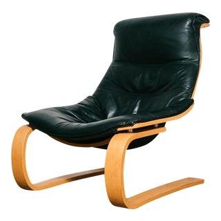 Black leather Takashi Okamura & Erik Marquardsen Lounge Chair