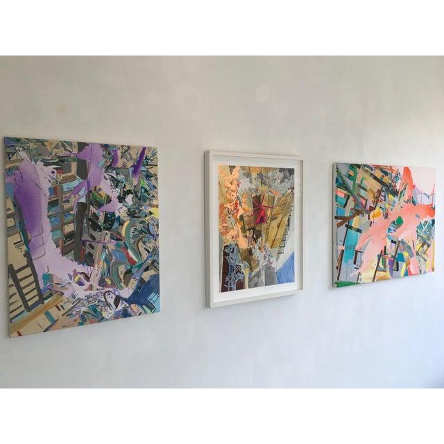 "Abstract Yasemin Kackar Demirel ""Burn, Burn, Burn"" Framed Mixed Media Painting on Paper For Sale - Image 3 of 4"