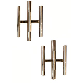 Gaetano Sciolari Three-Arm Chrome Sconces - A Pair