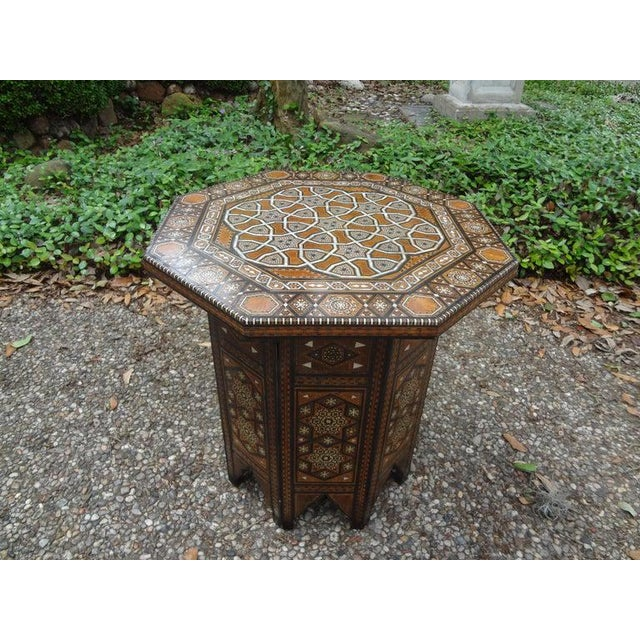 Shell Antique Middle Eastern Arabesque Style Mother of Pearl Inlaid Table For Sale - Image 7 of 13