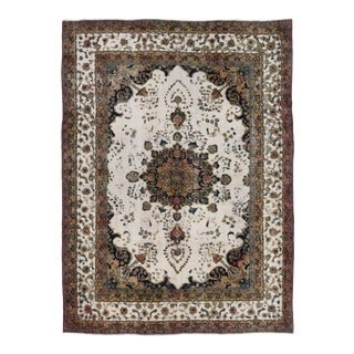 Distressed Antique Persian Mahal Rug With William and Mary Style - 8'1 X 10'9 For Sale