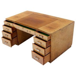 Large Executive Art Deco Burl Wood Partners Desk For Sale