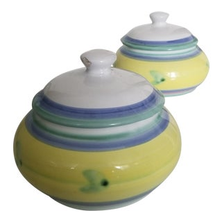 Vintage Italian Caleca Pottery Lidded Petite Round Vessels - a Pair For Sale