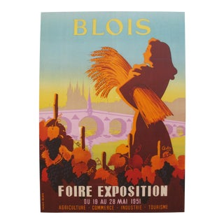 Original Vintage French Travel Poster, Blois 1951