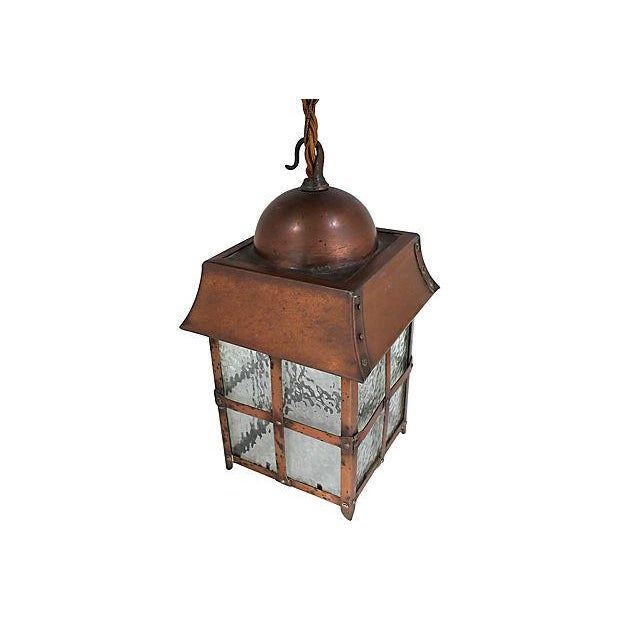 Antique Arts & Crafts Copper Lantern - Image 5 of 5