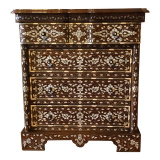Late 20th Century Vintage Syrian Inlaid Mother of Pearl Dresser For Sale