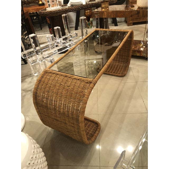 Vintage Scroll Natural Wicker Console Table For Sale - Image 4 of 13