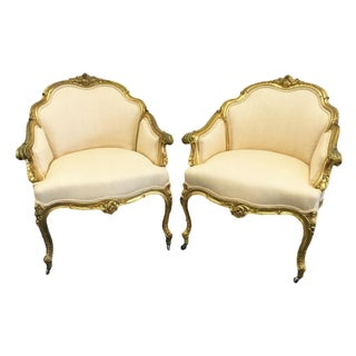 Pair of 19th Century Louis XV Giltwood Bergères For Sale