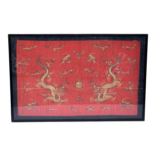 Chinese Export Dragon Motif Silk Embroidery For Sale
