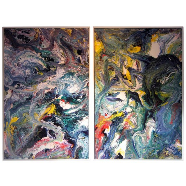Acrylic A Pair of Abstract Compositions by California Artist Richard Mann For Sale - Image 7 of 7