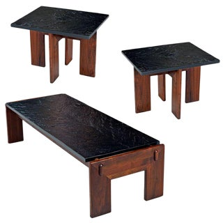Adrian Pearsall Slate Top Walnut Base 3-Piece End Table Coffee Table Living Room For Sale