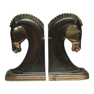 Art Deco Machine Age Bronze/Copper Plated Trojan Horse Bookends C. 1930s