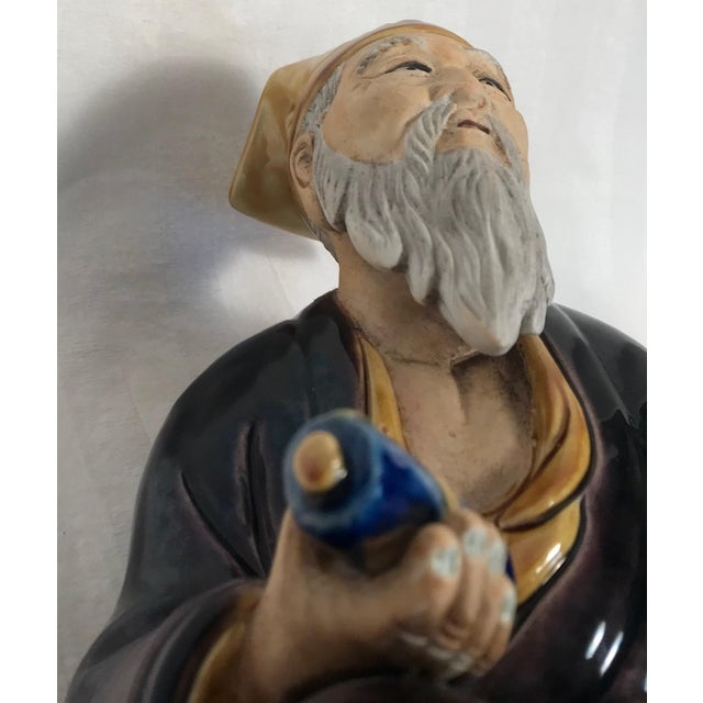 Ceramic Vintage Large Chinese Hand Painted Mudman Figure For Sale - Image 7 of 13