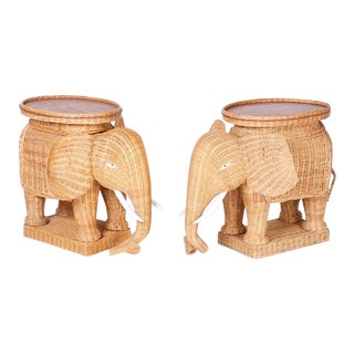 Mid Century Wicker Elephant Serving Stands - a Pair For Sale