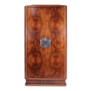 1925 French Art Deco Walnut Cocktail Cabinet For Sale