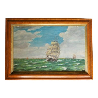 Delicate Old Dutch Seascape Painting For Sale