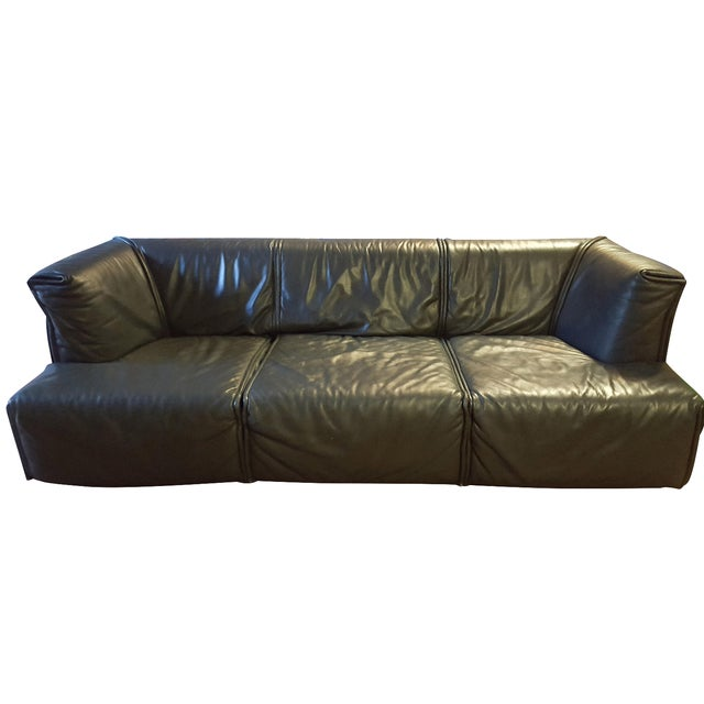 Italian Modern Leather Couch - Image 1 of 5