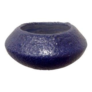 Blue Mid Century Fat Lava Vase For Sale