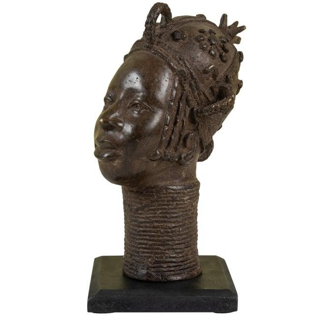 Mid 20th Century Small Benin Bronze Head For Sale - Image 5 of 5