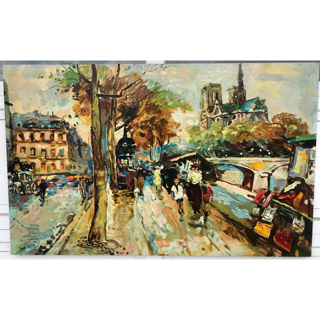 A semi-abstract French bridge scene painted by S. Finkelstein in 1963 is presented in large, vibrant colors and is painted...