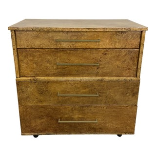 Mid-Century Modern Faux Burl Wood Chest For Sale