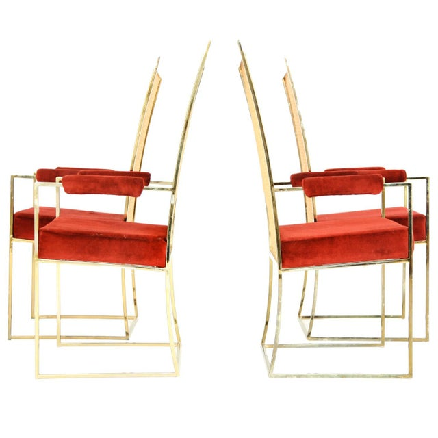 1980s Set of Milo Baughman Curved Back Dining Chairs For Sale - Image 5 of 10