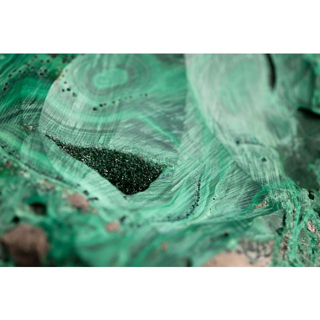 Mid-Century Modern Malachite Natural Specimen Vide Poche Stone Paperweight For Sale - Image 3 of 12