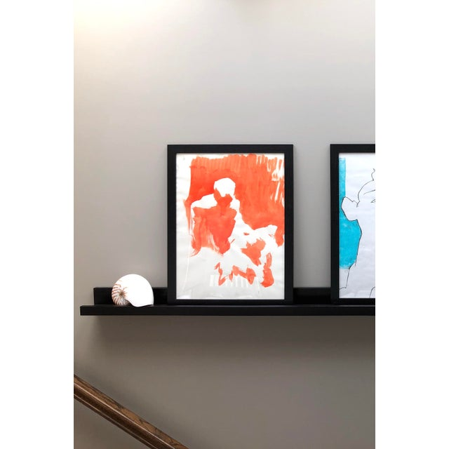"""2010s Contemporary Figure Painting in Orange Ink, """"Seated Figure in Orange"""" by Artist David O. Smith For Sale - Image 5 of 12"""