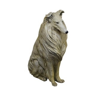 Mid Century Life Size Seated Collie Dog Statue For Sale