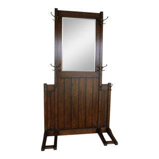 Mission Oak Art & Crafts Style Hall Rack Beveled Glass Mirror For Sale