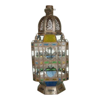 Vintage Moorish Glass Lantern From Marrakech For Sale