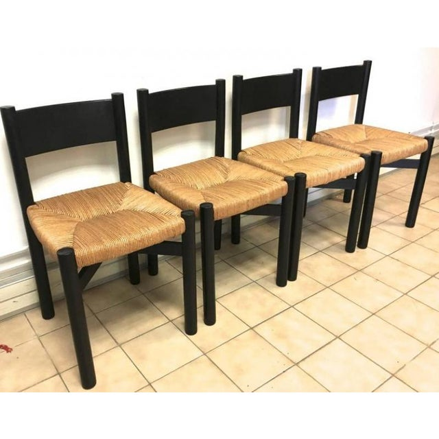 """Charlotte Perriand Set of Four Black Model """"Meribel"""" Rush Chairs For Sale - Image 6 of 7"""