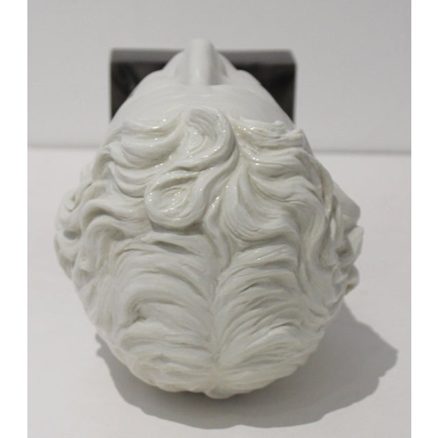 Mid-Century Modern Roman Head of Male in White Porcelain on Faux Malachite Stand For Sale In West Palm - Image 6 of 11