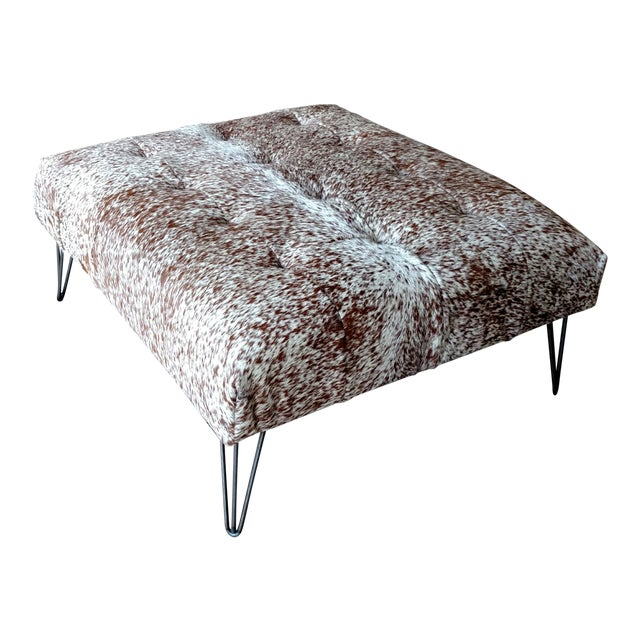 Gambrell Renard Tufted Cowhide Ottoman - Image 1 of 8