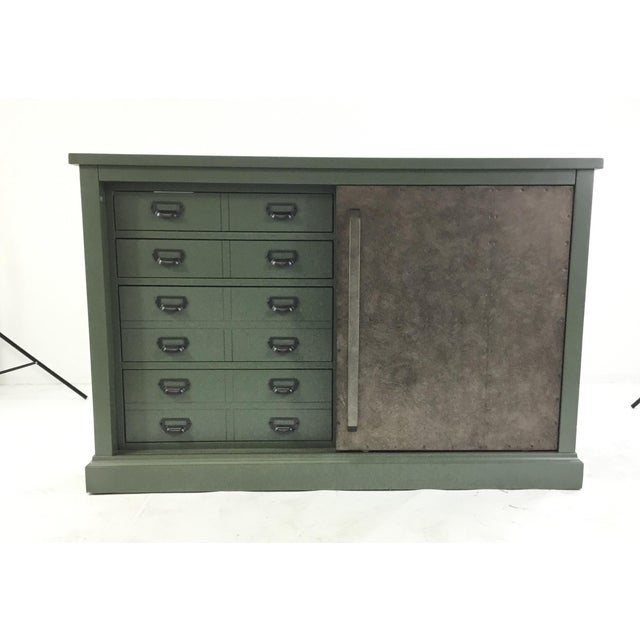Metal Green Sliding Door Console For Sale - Image 7 of 7