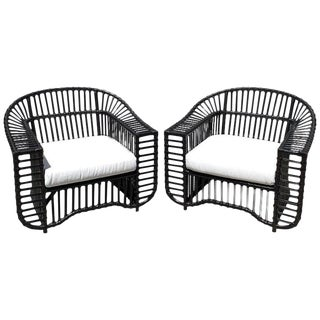 Pair of Midcentury Ebonized Rattan Club Chairs by Henry Olko, Restored For Sale