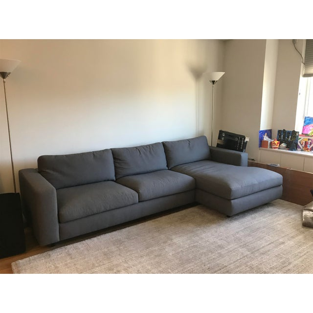 Jeffrey Bernett DWR Reid Gray Left Chaise Sectional For Sale - Image 4 of 6