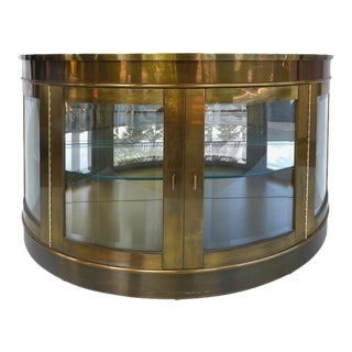 Mid-Century Modern Brass Mastercraft Demilune Cabinet with Beveled Glass