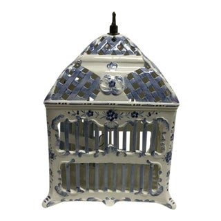 20th Century Italian Hand-Painted Ceramic Bird Cage For Sale