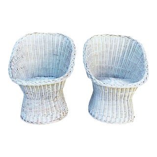 Vintage White Wicker Chairs- A Pair For Sale
