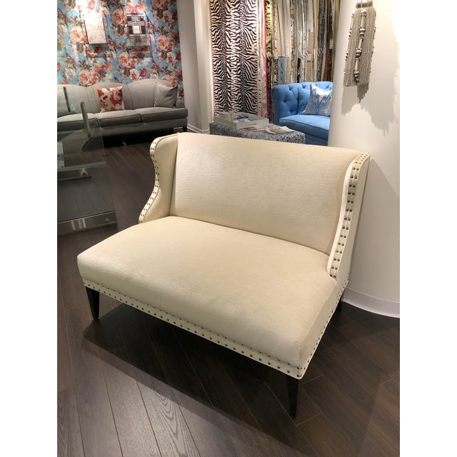 Textile Transitional Off-White Upholstered Settee For Sale - Image 7 of 7